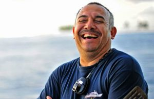 Chef Enrique enjoys a laugh onboard the Nautilus