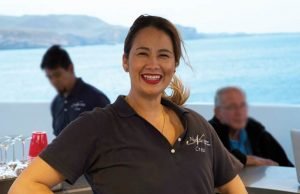 Hostess Laurentina welcomes each guest aboard with a huge smile
