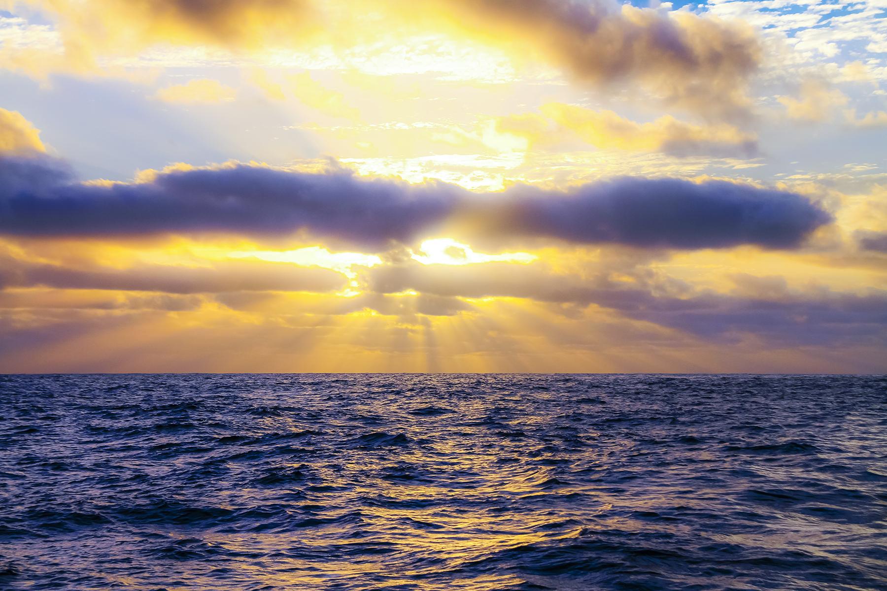 Sunset in an open ocean crossing