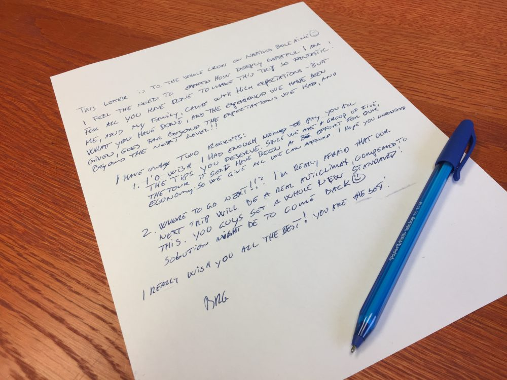 A letter from a recent guest onboard the Belle Amie