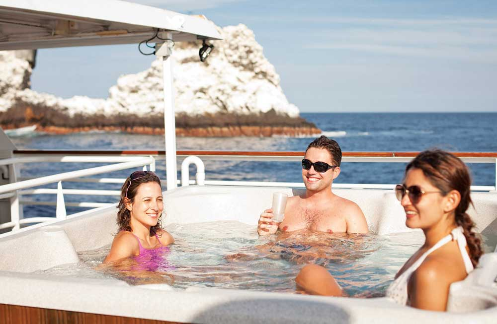 Hot tub on Explorer wheelhouse deck