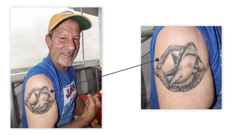 Danny's great white shark tattoo